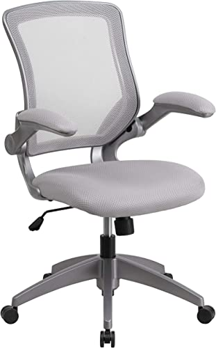 Flash Furniture Mid-Back Gray Mesh Swivel Task Chair with Gray Frame and Flip-Up Arms , 25.25 W x 24 D x 37.50 – 42.25 H – BL-ZP-8805-GY-GG