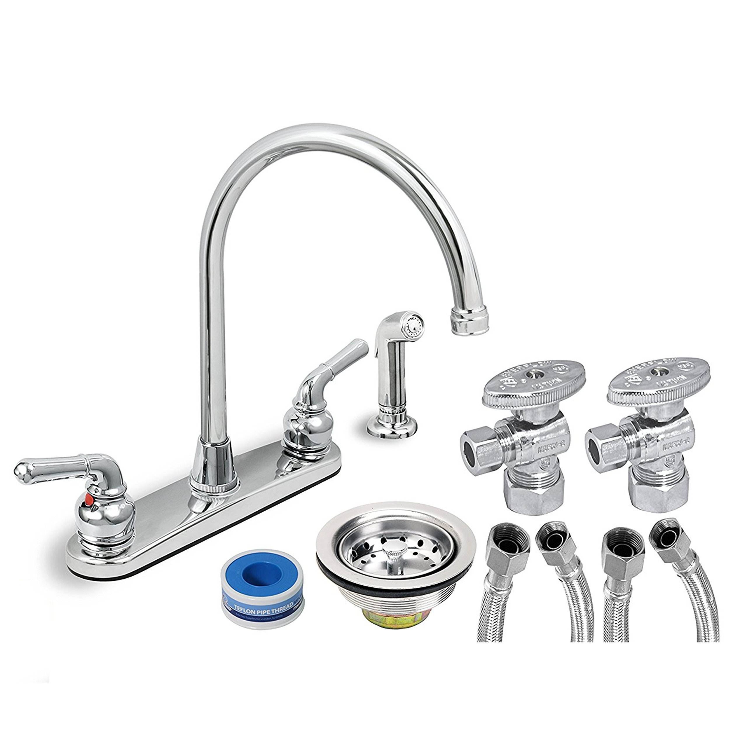 EverFlow Two Handle Kitchen Faucet Complete Installation Kit KFKT17188-20 Chrome Finish Sprayer w/ 20-Inch Long Braided 1/2''  X 3/8'' Supply Lines, Stainless Steel Angle Stops & Lead-Free Sink Strainer