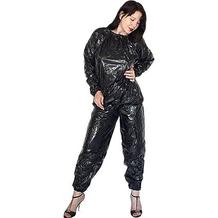 Gummig weicher Saunaanzug aus Vinyl mit Hose und Oberteil (schwarz)