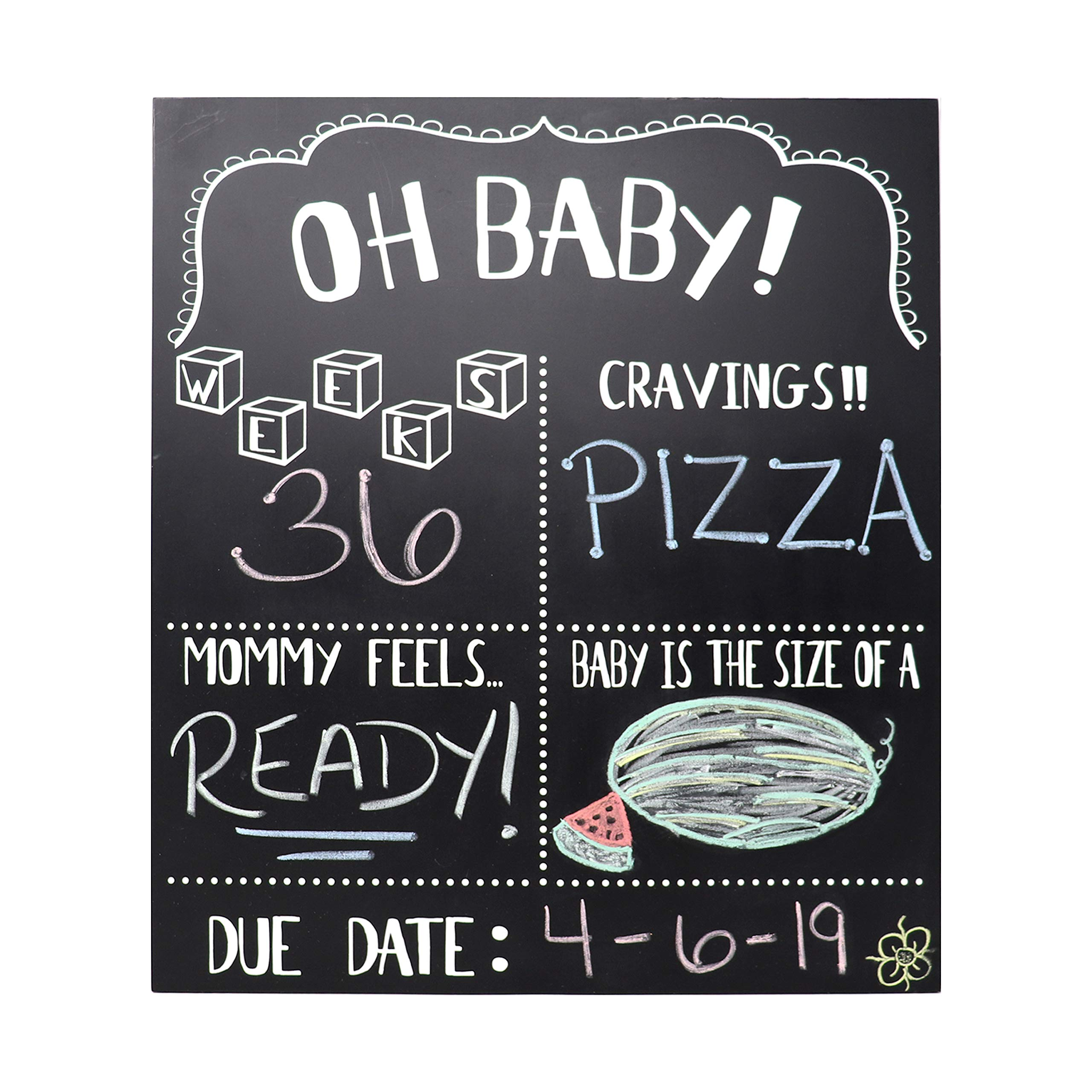 JennyGems Pregnancy Announcement Chalkboard and Photo Prop - Pregnancy Tracker Chalkboard - Extra Large Size 14 x 16 - Gender Reveal Monthly Milestones Countdown Week by Week Tracker Board by JennyGems