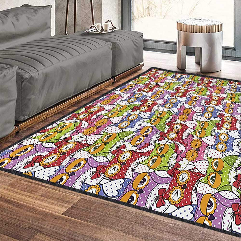 Owl, Anti Skid Rugs, Ornate Owl Crowd with Different Sights and Polka Dots Like Matryoshka Dolls Fun Retro Theme, Door Mats for Inside 5x7 Ft Multi by protectormax (Image #5)