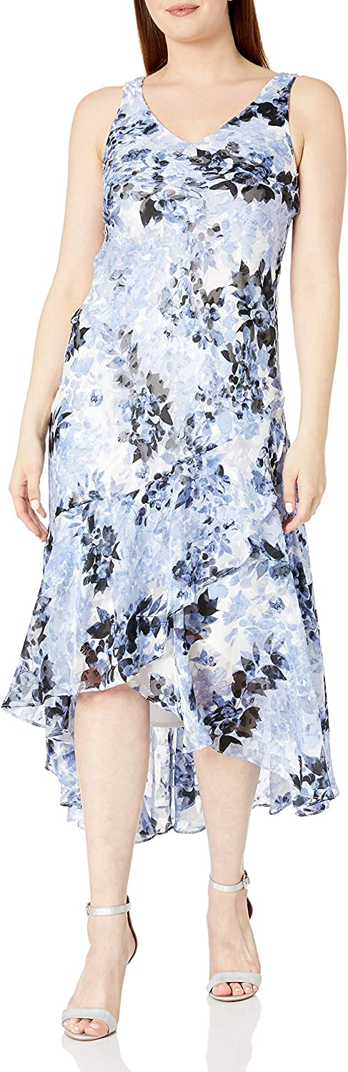 Alex Evenings Womens Tea Length Printed Chiffon Dress with Shawl Special Occasion Dress Black/Hydrangea With Shawl