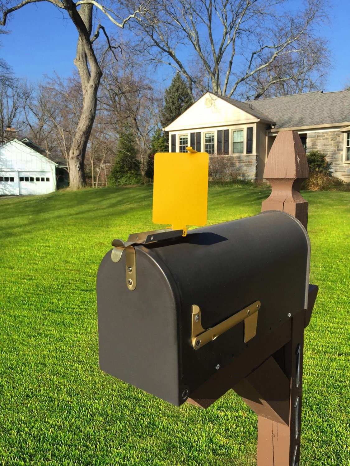Mail Time /® Yellow Mailbox Alert Signal Flag for Long Rural Driveways JH Wonder Works 932R