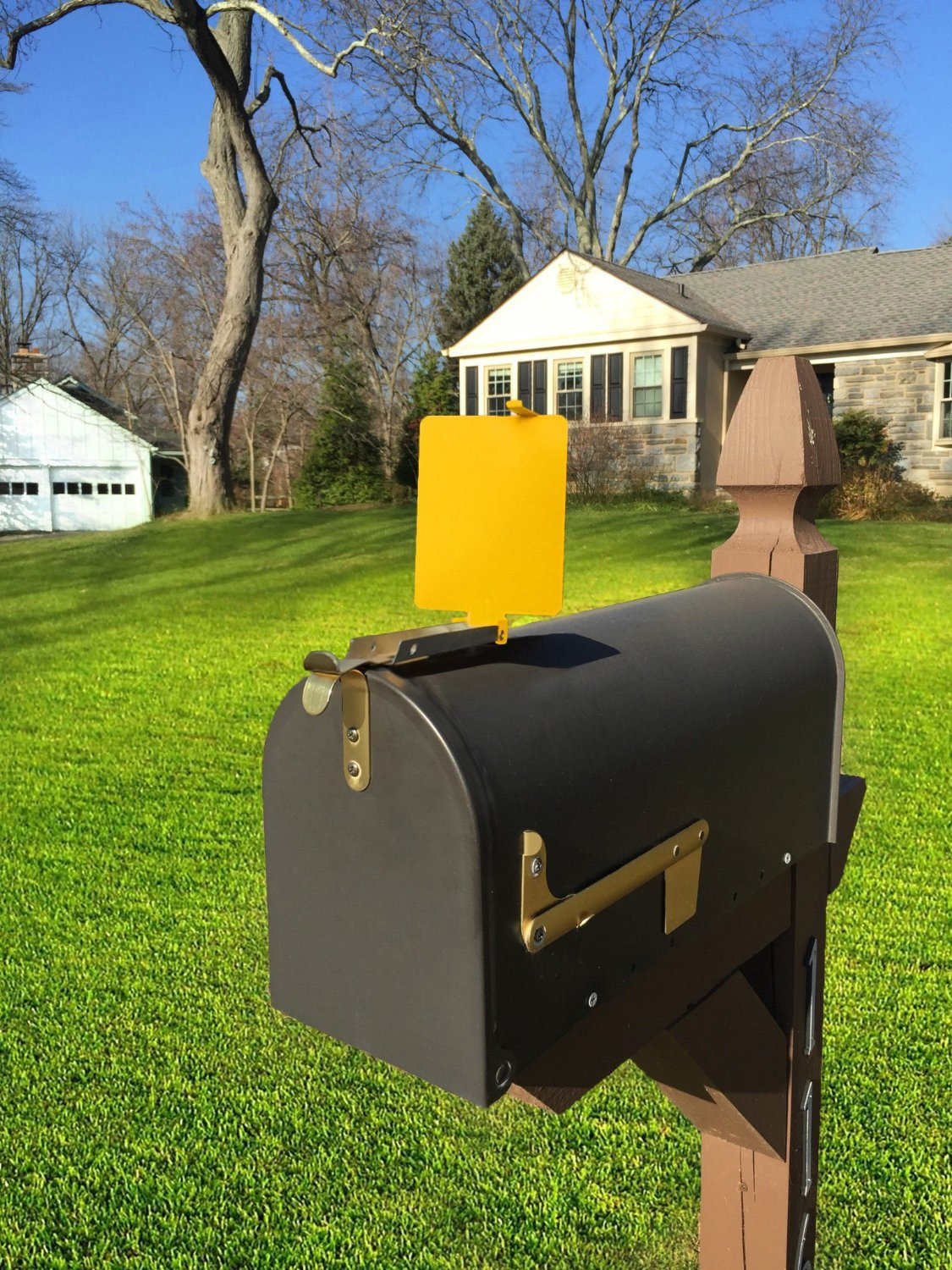 Mail Time! Yellow Mailbox Alert Signal Flag for Long Driveways