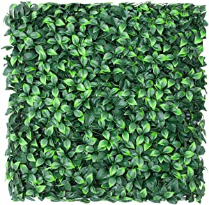 "FLORALEAF Artificial Boxwood Panels Topiary Hedge Plant UV Protected Privacy Ivy Screen Faux Greenery Wall Décor Outdoor Indoor Use Backyard Garden Decoration 20"" x 20"", Gardenia 6 Pieces"