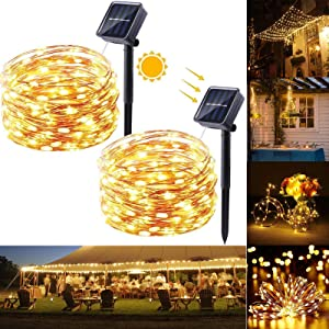 Solar String Lights, 2 Pack 33ft 100 LED Solar Fairy Lights Outdoor, Waterproof Copper Wire 8 Modes Solar Powered Fairy Lights for Christmas, Garden, Yard, Party, Patio, Wedding(Warm White)