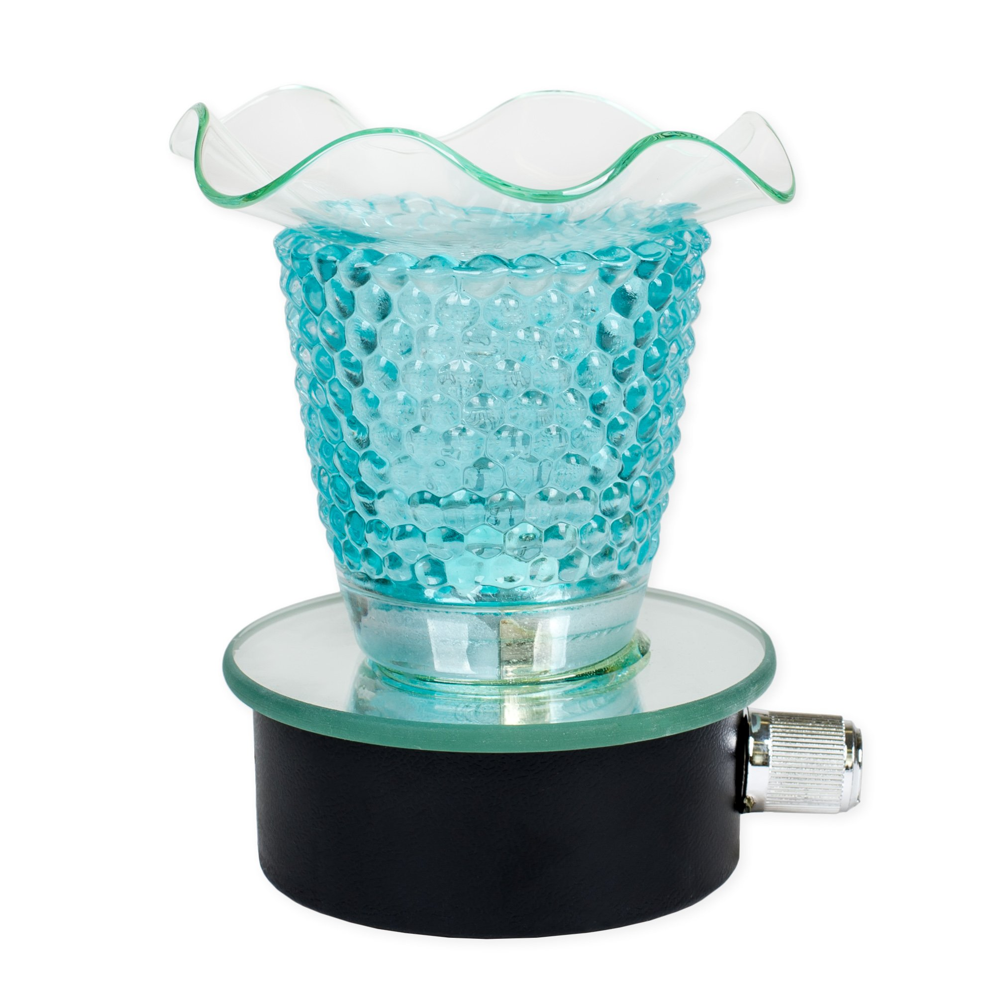 Blue Mirror 3 Inch Clear Glass Wall Plug In Oil Tart Warmer with Dimmer Dial