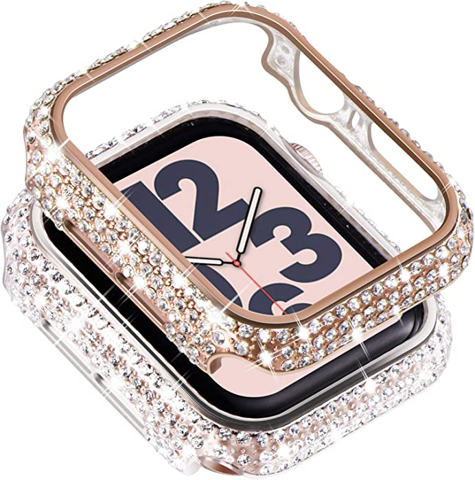 Surace Compatible with Apple Watch Case 44mm for Apple Watch Series 6/5/4/3/2/1, Bling Cases with Over 200 Crystal Diamond Protective Cover Bumper for 38mm 40mm 42mm 44mm, (2-Pack, Rose Gold/Clear)