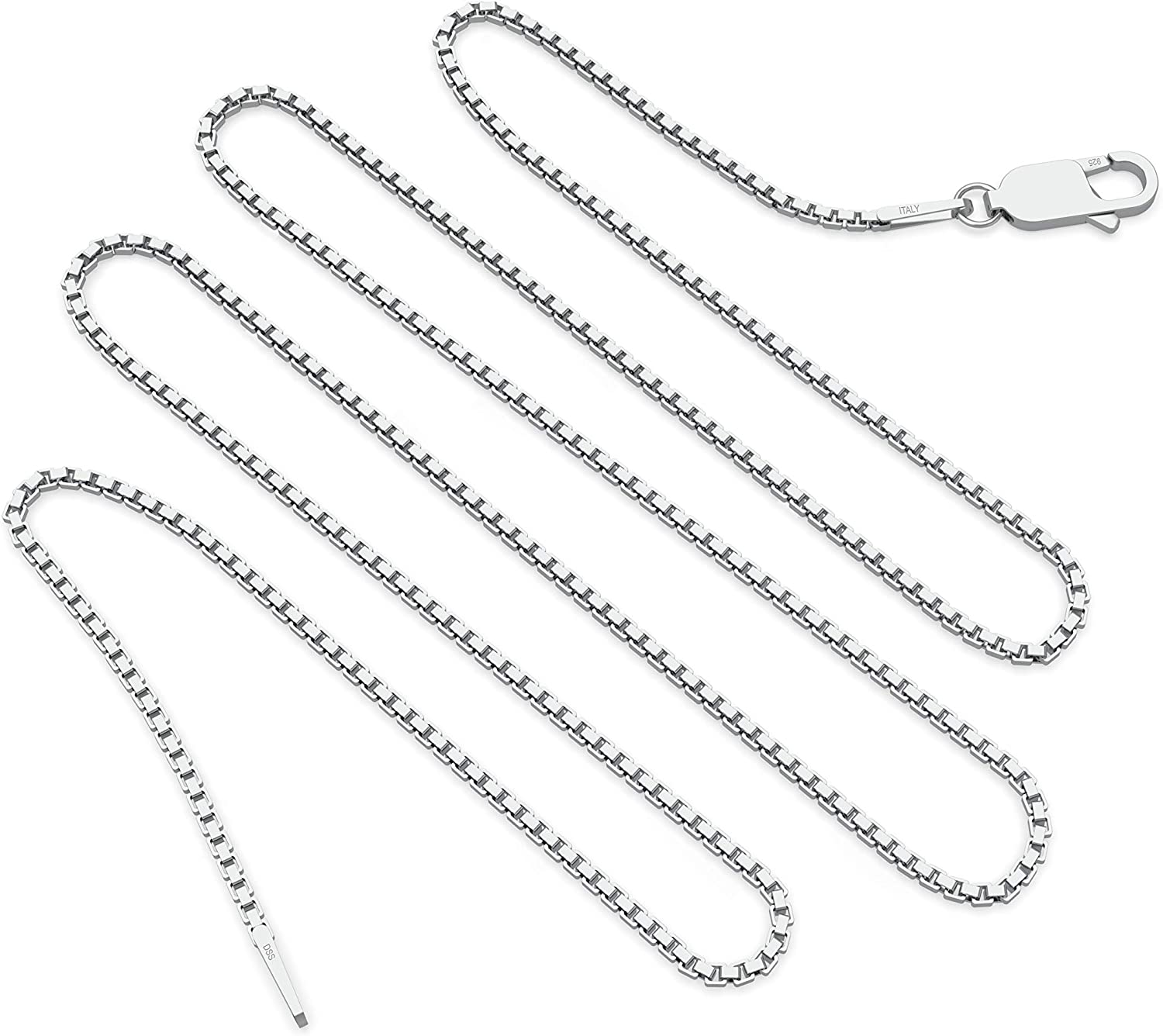 925 Sterling Silver 2.5mm 8 Sided Diamond-cut Box Chain Necklace 16-30