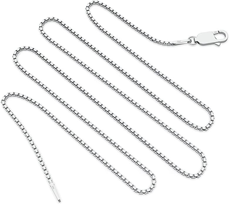 Box Chain Choker Necklace Minimalist Sterling Silver Thin Box Chain Necklace