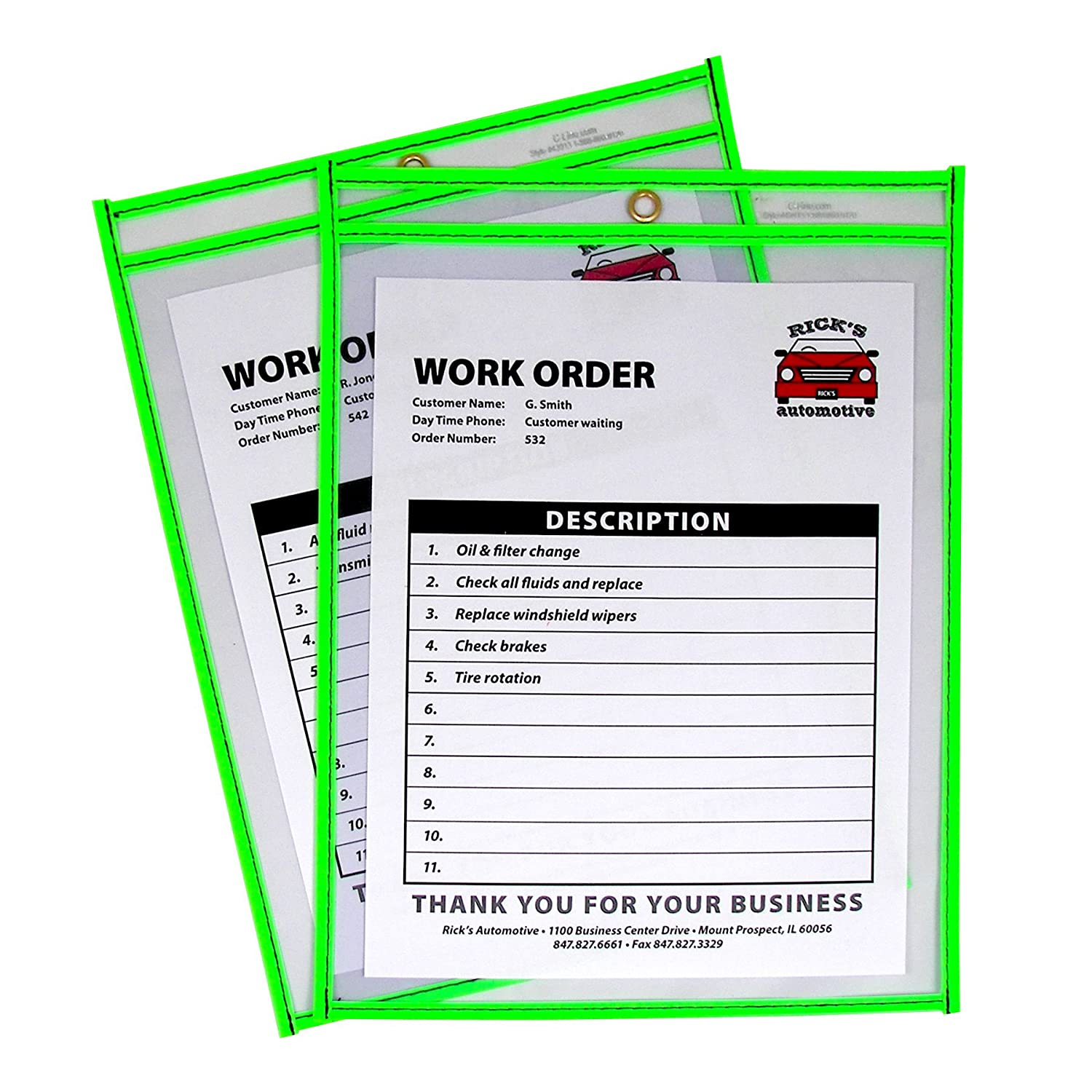 Amazon.com : C-Line Neon Stitched Shop Ticket Holders, Green, Both ...