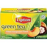 Lipton Green Tea Bags, Superfruit, White Mangosteen & Peach, 20 ct