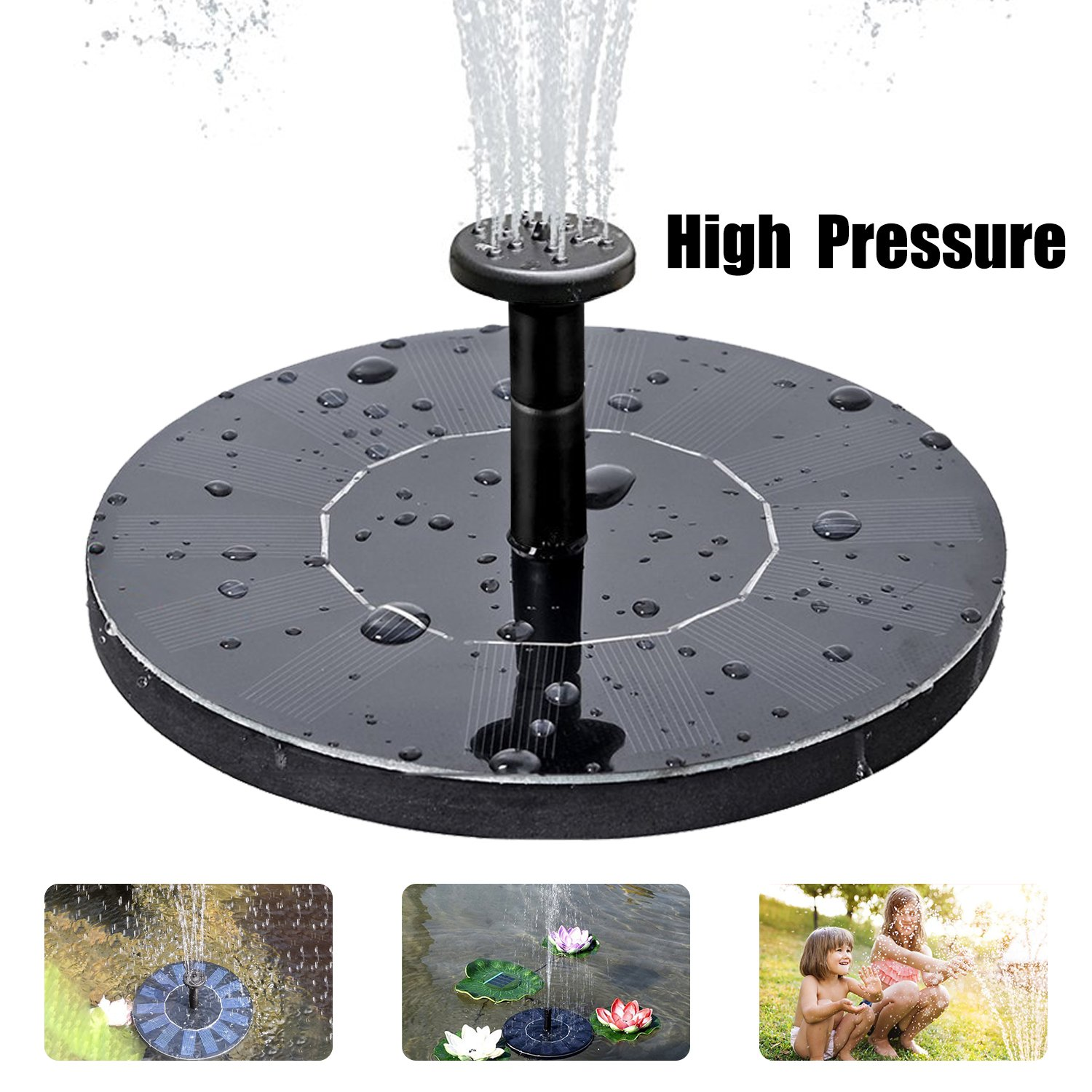 Solar Fountain Pump, Free Standing Solar Birdbath Fountain, 2018 Upgraded 1.5W Solar Powered Fountain Pumps Submersible Outdoor, for Bird Bath, Small Pond, Swimming Pool, Garden, Patio and Lawn by CYNOVA
