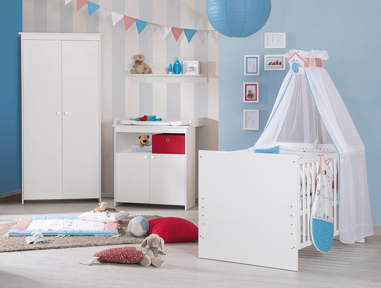 Roba Kleiderschrank Kleiderschrank Kleiderschrank Emilia in modernem Weiß, Schrank mit 2 Türen und Metallkleiderstange sowie hochwertigen Porzellangriffen für das Kinder- und Babyzimmer f41ccc