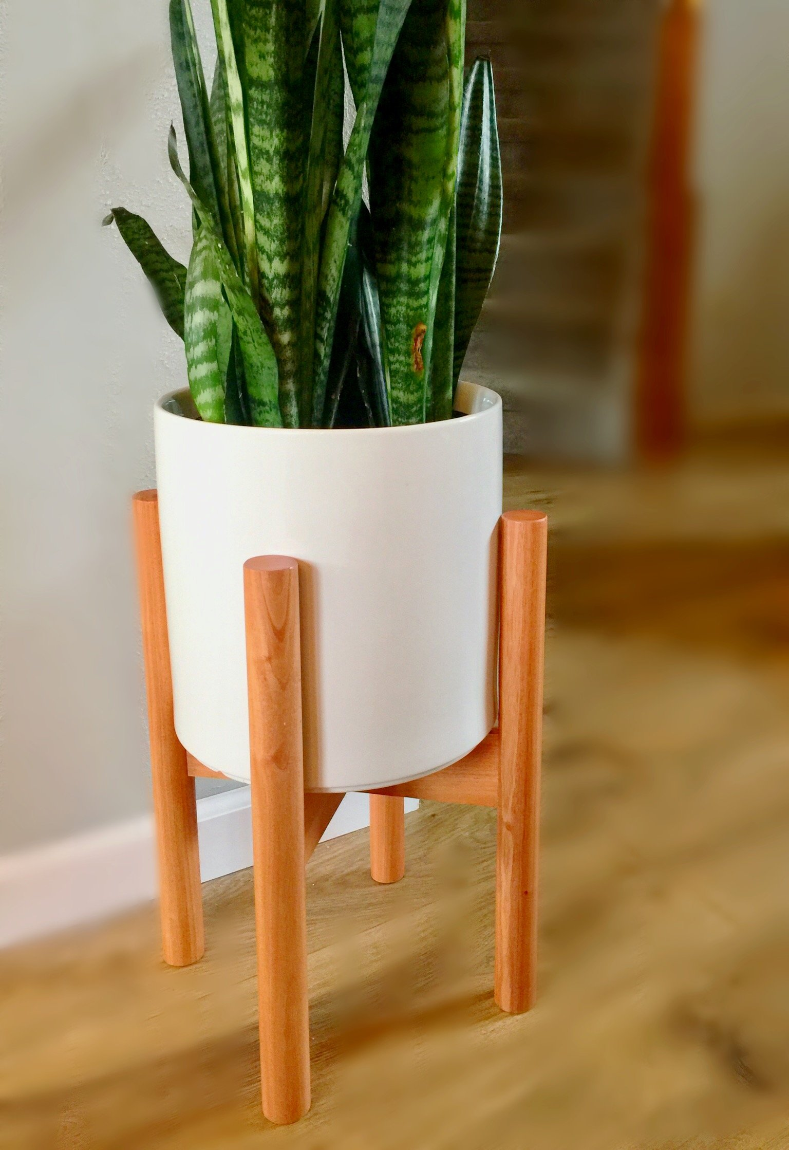 Georgie Mayes Modern Mahogany Plant Stand, No tools required, Up to 10 Inch Planter (POT NOT INCLUDED)