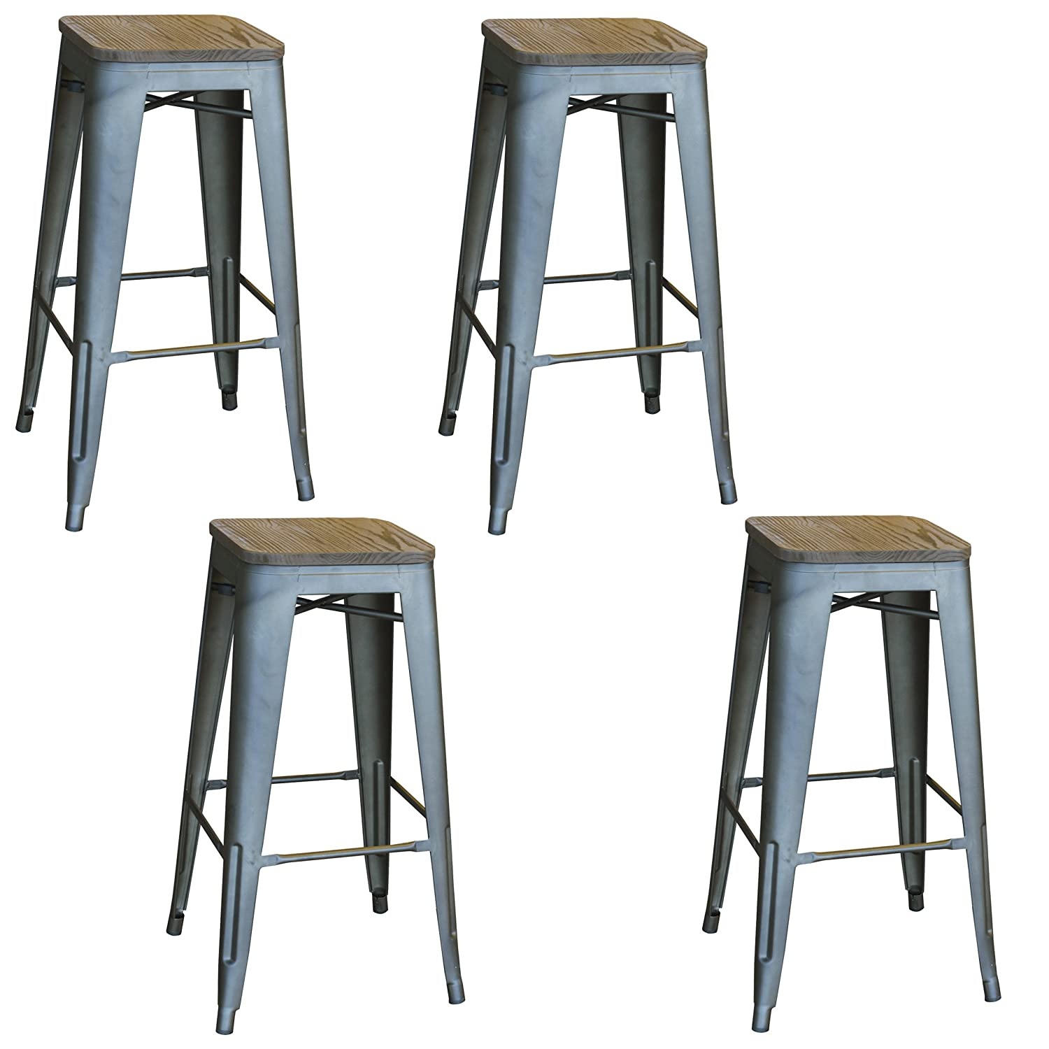 Amazon.com AmeriHome BS030SWTSET 4 Piece Loft Rustic Gunmetal Metal Bar Stool with Wood Seat Kitchen u0026 Dining  sc 1 st  Amazon.com & Amazon.com: AmeriHome BS030SWTSET 4 Piece Loft Rustic Gunmetal ... islam-shia.org