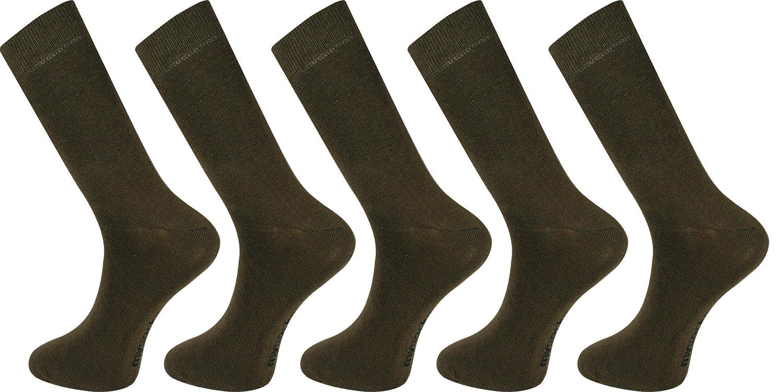 Mysocks® Men Socks Plain Brown 5 Pairs Cotton Rich Size 6 to 11 MP013a