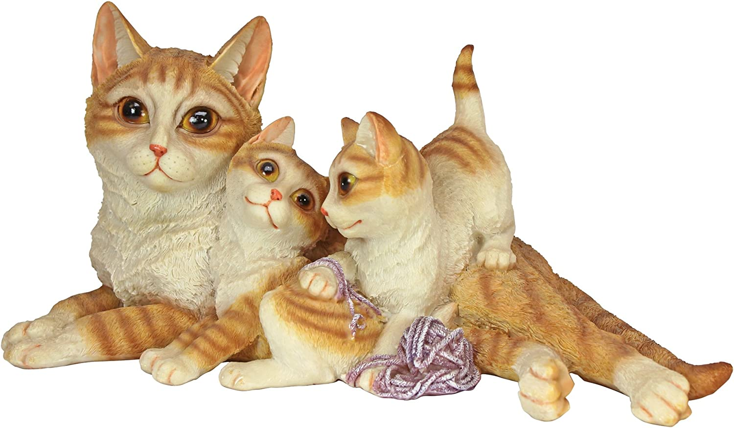 Design Toscano Kitten Crowd Cat Family Statue,full color