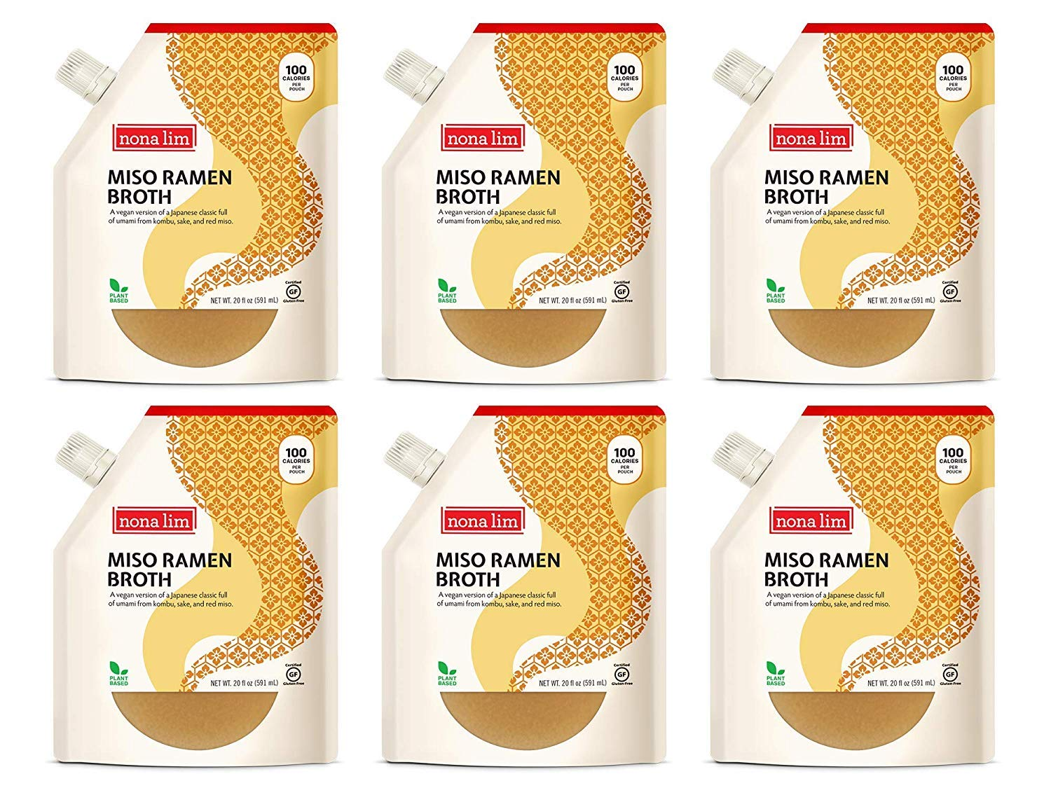 Nona Lim Miso Ramen Broth - Vegan, Gluten Free, Dairy Free (20 oz., 6 Count) - Packaging May Vary by Nona Lim