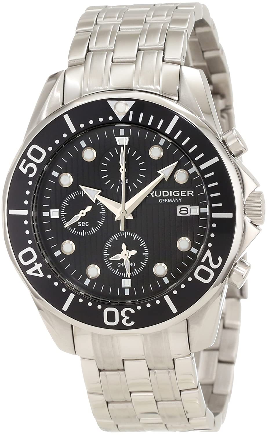 Rudiger Mens Stainless Steel Professional Sport Chronograph Watch German Diver Chemnitz Collection with Date