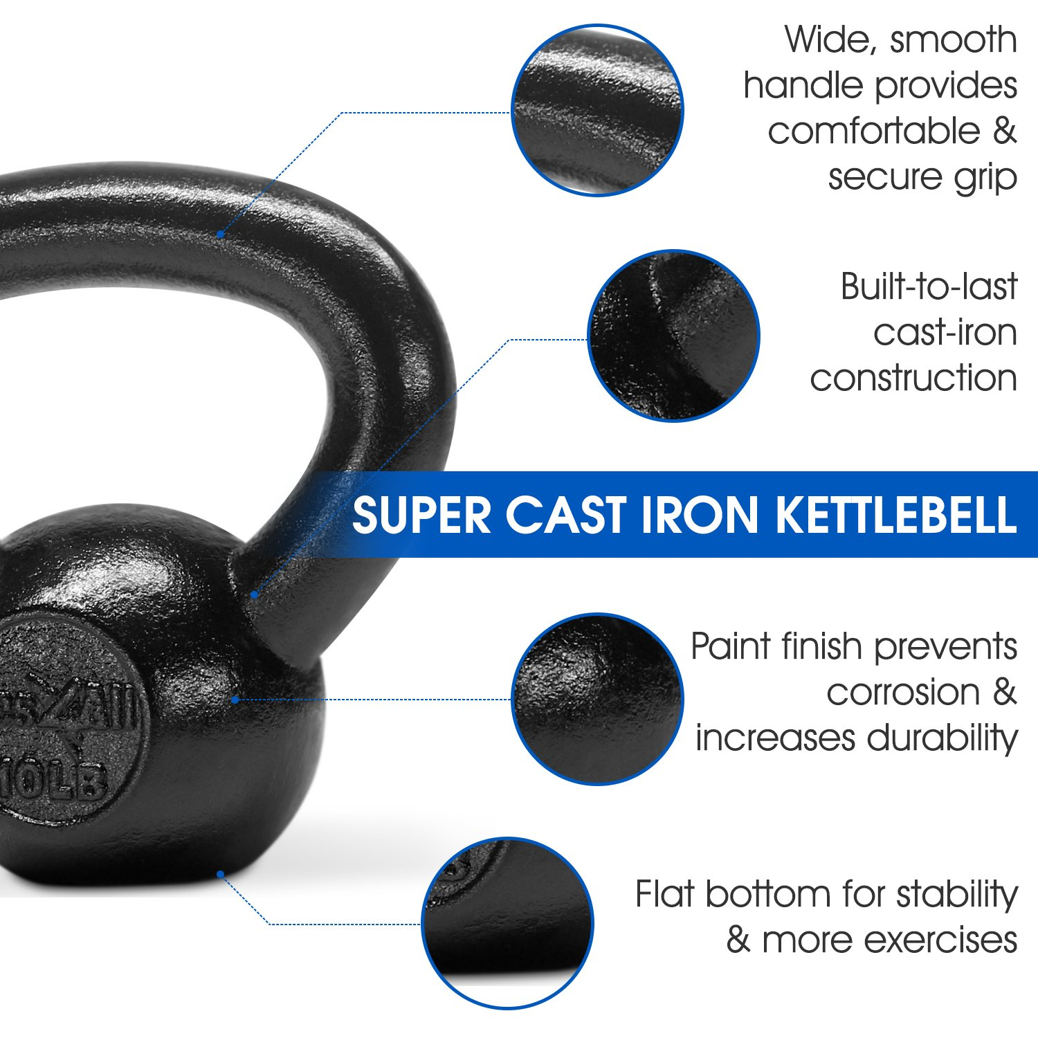 Yes4All Solid Cast Iron Kettlebell Weights Set – Great for Full Body Workout and Strength Training – Kettlebell 10 lbs (Black) by Yes4All (Image #4)
