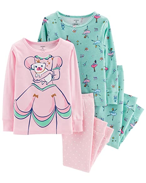 Amazon.com  Carter s Girls Pajamas PJs 4pc Cotton Snug Princess Cut ... ddd41eb6f