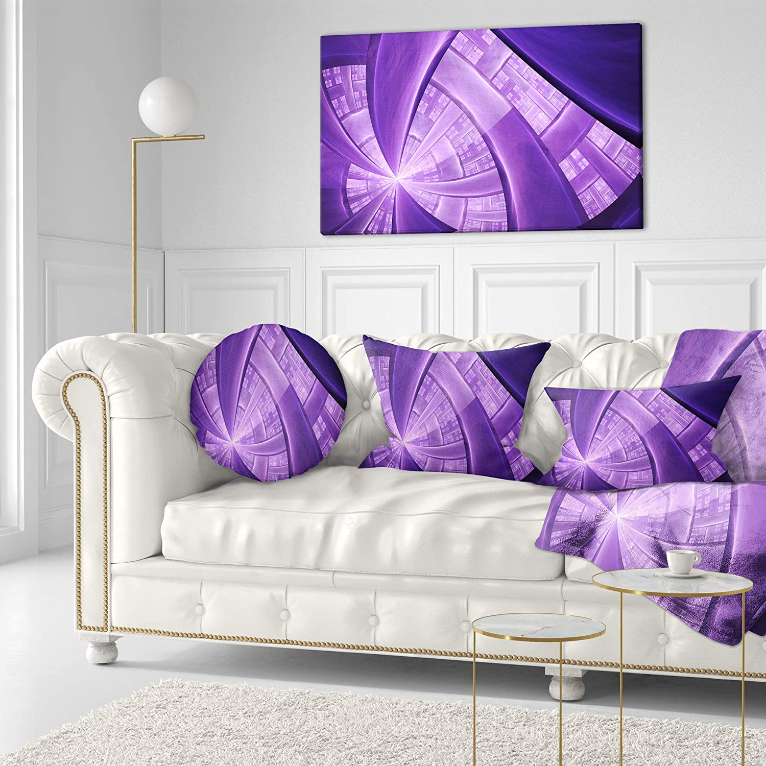 Insert Printed On Both Side Sofa Throw Pillow 20 Designart CU16313-20-20-C Purple Fractal Exotic Plant Stems Abstract Round Cushion Cover for Living Room