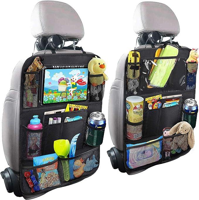 Protezione Sedile Auto,EFULL 2 Pezzi Organizzatore Sedile Posteriore Auto Proteggi Impermeabile Organizer per Sedile Auto con Multi-Tasca Protezione Sedile Auto Bambini Supporto per Tablet 10,5