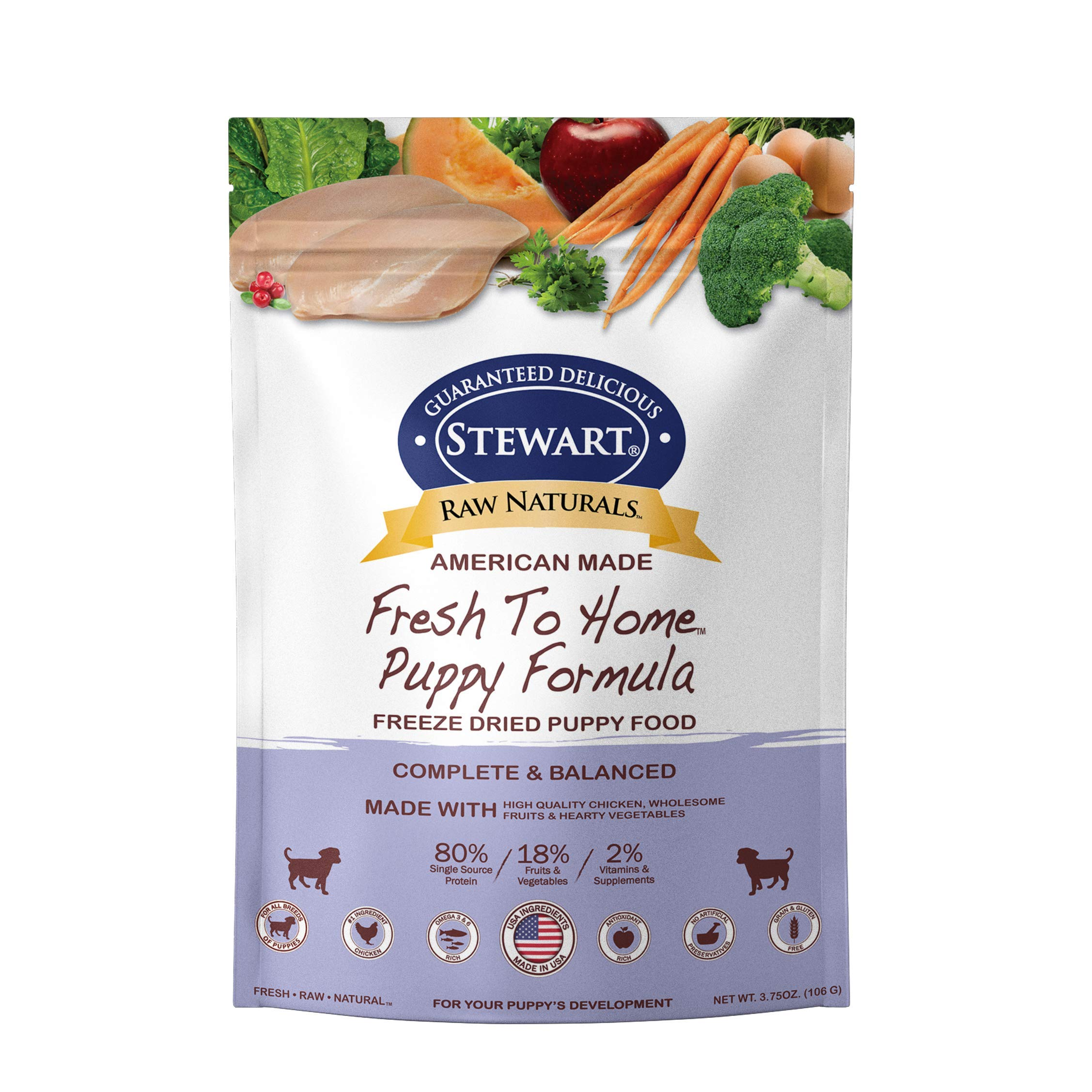 Stewart Raw Naturals Freeze Dried Puppy Food Grain Free Made in USA with Chicken, Fruits, & Vegetables for Fresh To Home All Natural Recipe, Trial Size by Stewart