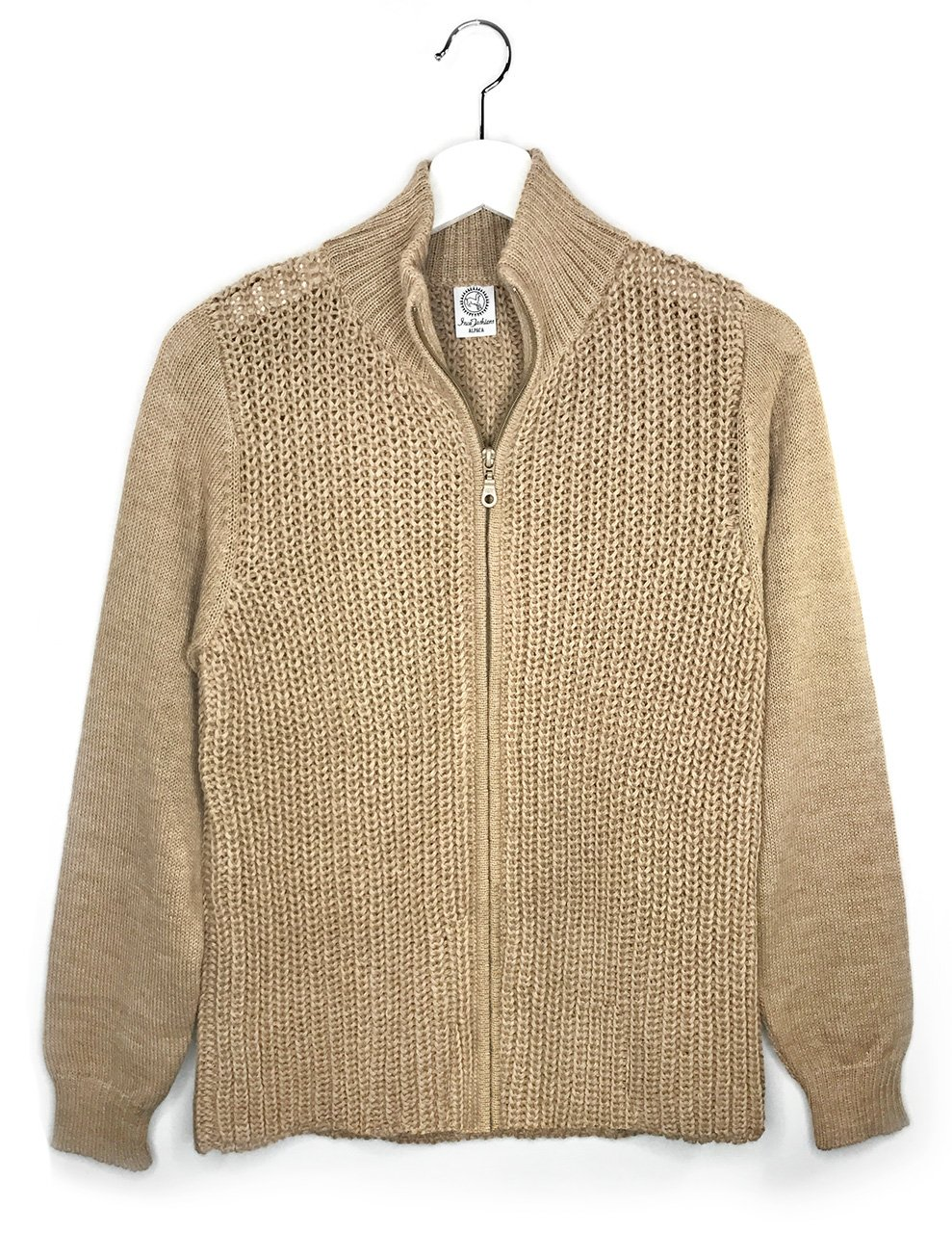 Women's 100% Alpaca Cardigan Sweater - Moto Style with Zip Closure (XLarge, Sandstone)