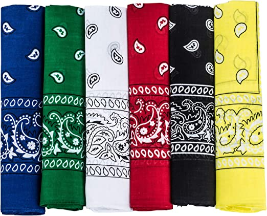 Red Black Green Yellow Blue Purple Colourful Multi Purpose 100/% Cotton Bandanas