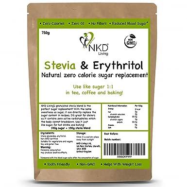Estevia y eritritol - sustituto natural granulado del azúcar con cero  calorías en proporción 1:1 - 750 g