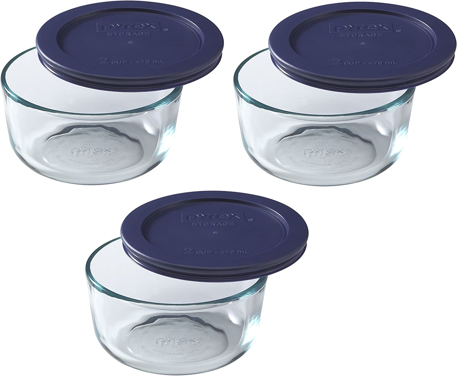 Pyrex Blue Storage Round Dish with Dark Plastic Cover, Clear (2-Cup Pack of 3)