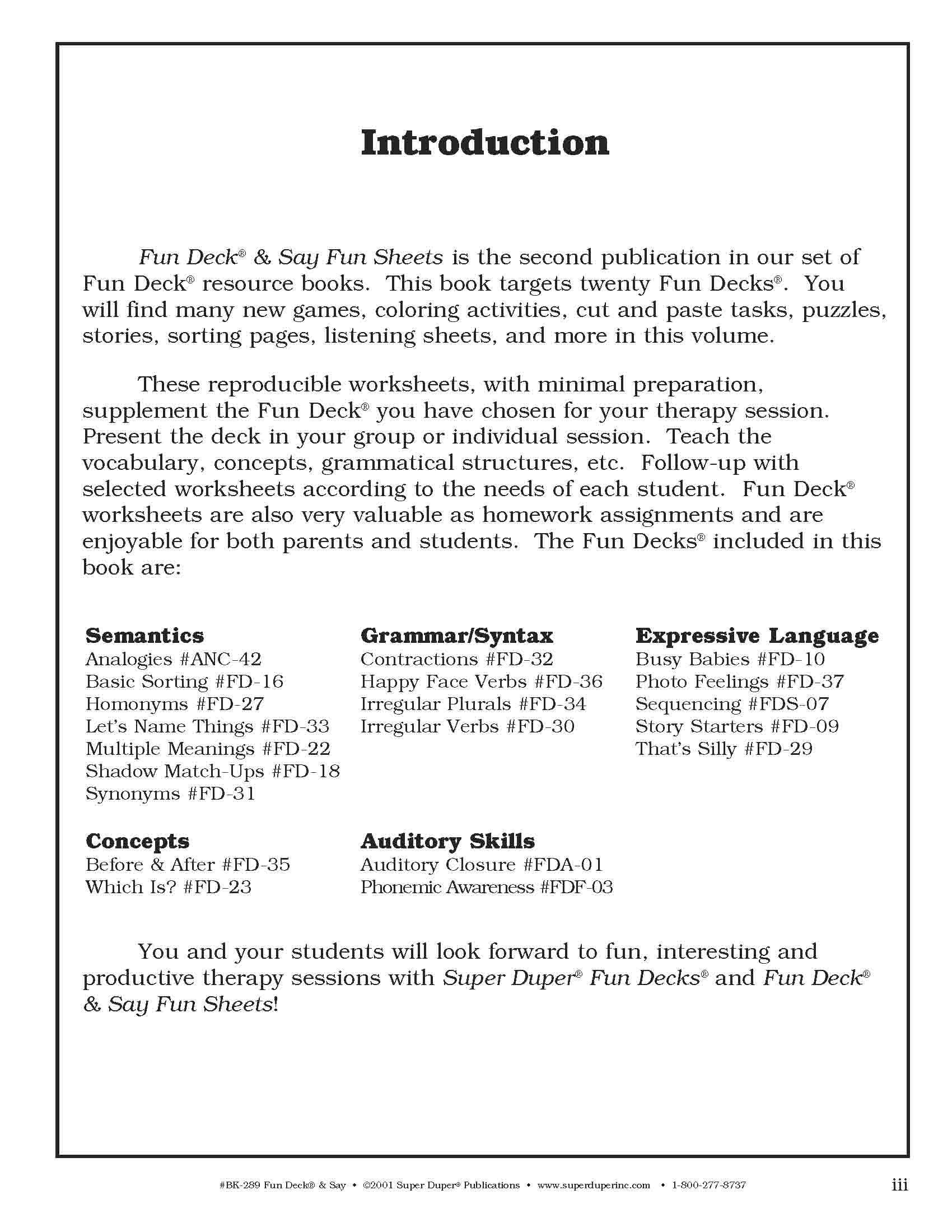 fun deck say grammar reasoning and semantics fun sheets for 20 super duper fun decks kim gill 9781586501891 amazoncom books