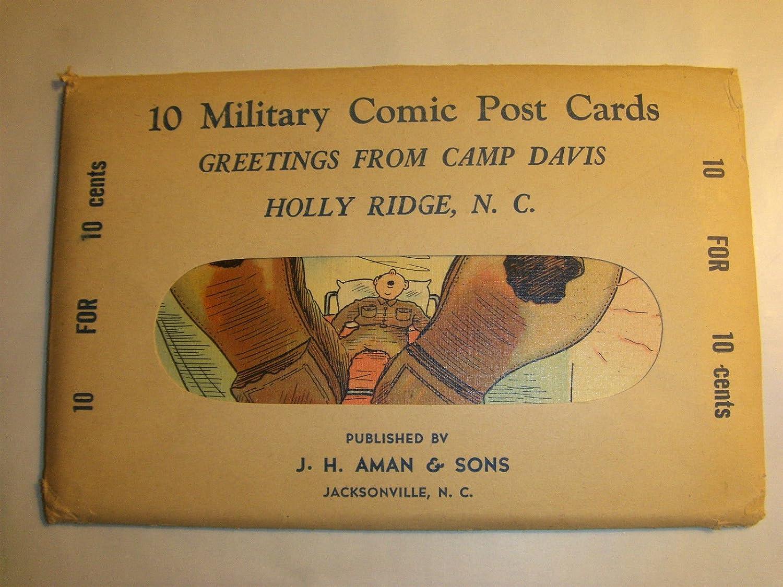 World War II Era 10 Military Comic Postcard Camp Davis Holly Ridge Nc. Military Comic Linen Ticnor Vintage Postcards