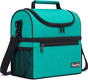 Insulated Lunch Bag with Dual Compartment, Leak Proof Liner Cooler Bag with Adjustable Shoulder Strap, Water-Resistant Lunch Box for Office/Picnic/Hiking/Beach (Style B-Grass Green)
