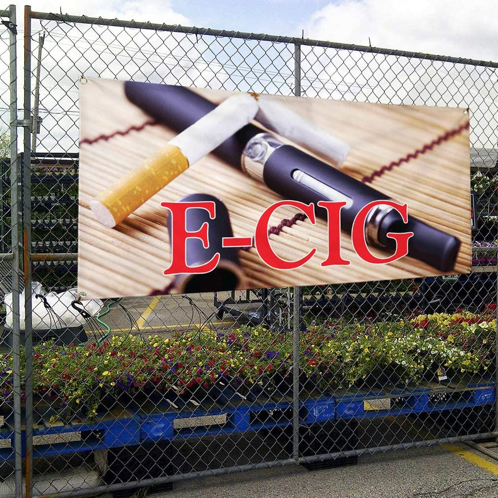 Vinyl Banner Multiple Sizes E-Cig B Outdoor Advertising Printing Business Outdoor Weatherproof Industrial Yard Signs 8 Grommets 48x96Inches