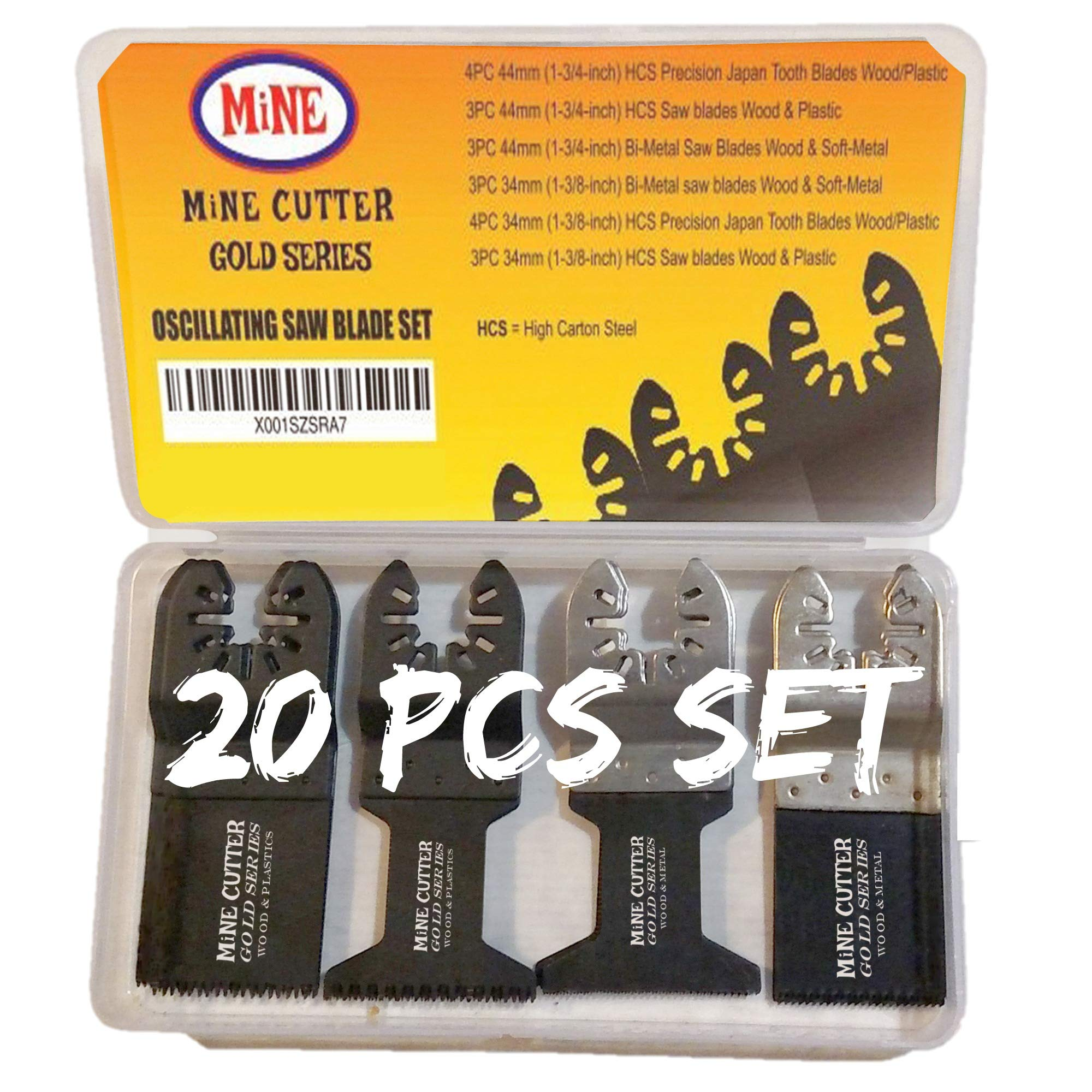 20 Oscillating Saw Blades for Quick Release Multitool: Fits Fein Multimaster Makita Milwaukee Dewalt Rockwell Hyperlock Ryobi Porter Cable Black & Decker Dremel Craftsman Ridgid Chicago Stanley Skil