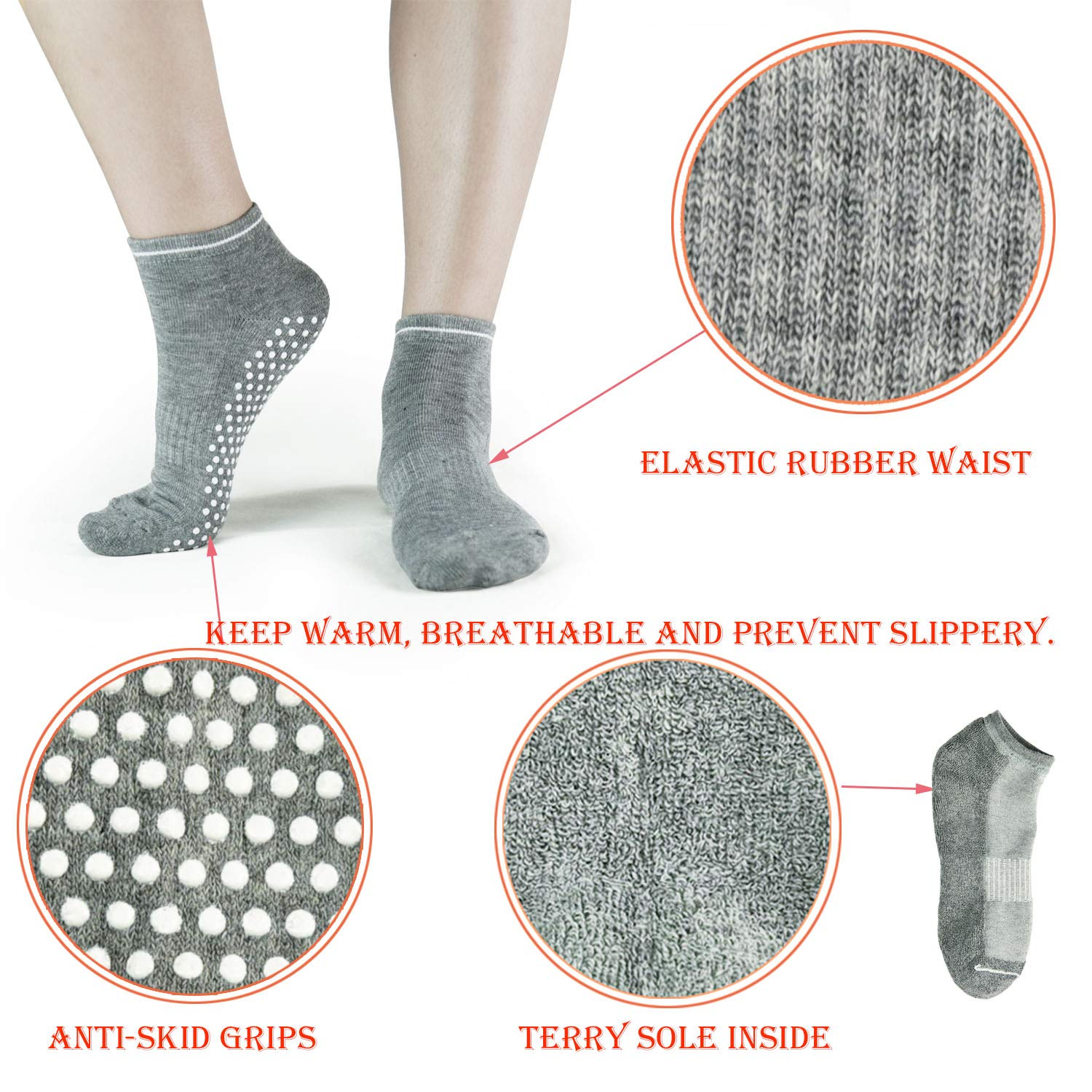 Amazon.com: Grips - Calcetines antideslizantes para pilates ...