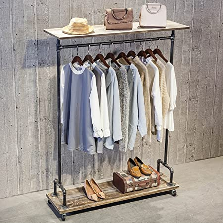 mbqq industrial pipe clothing rack on wheels rolling iron garment racks with shelves commercial grade clothing racks heavy duty vintage steampunk rh amazon com Display Rack Clothes Rack