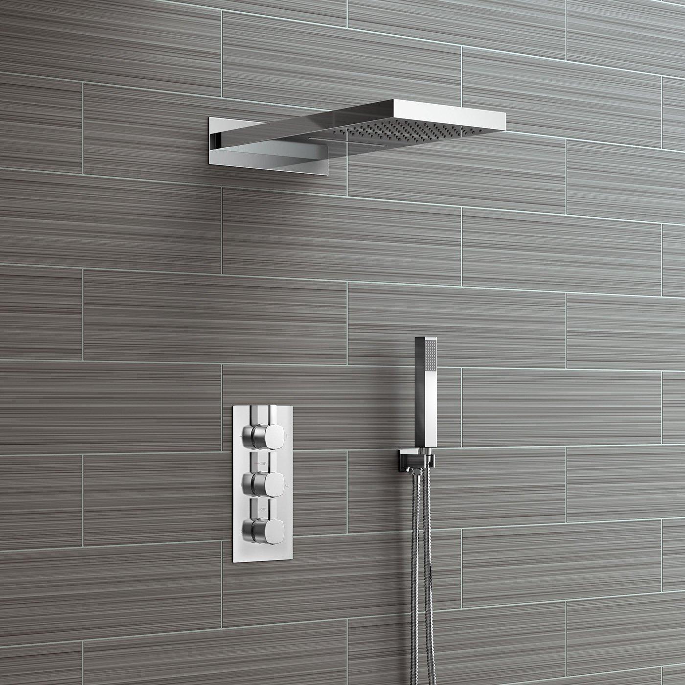 Set de ducha con mezclador termostático y doble función, con ...