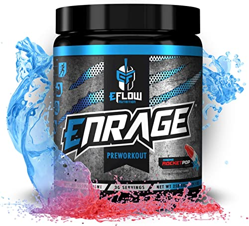 eFlow Nutrition ENRAGE Pre Workout Supplement with Creatine Beta Alanine Citrulline Agmatine Preworkout Powder to Boost Energy Pumps and Strength - 4 Flavors Rocket Pop