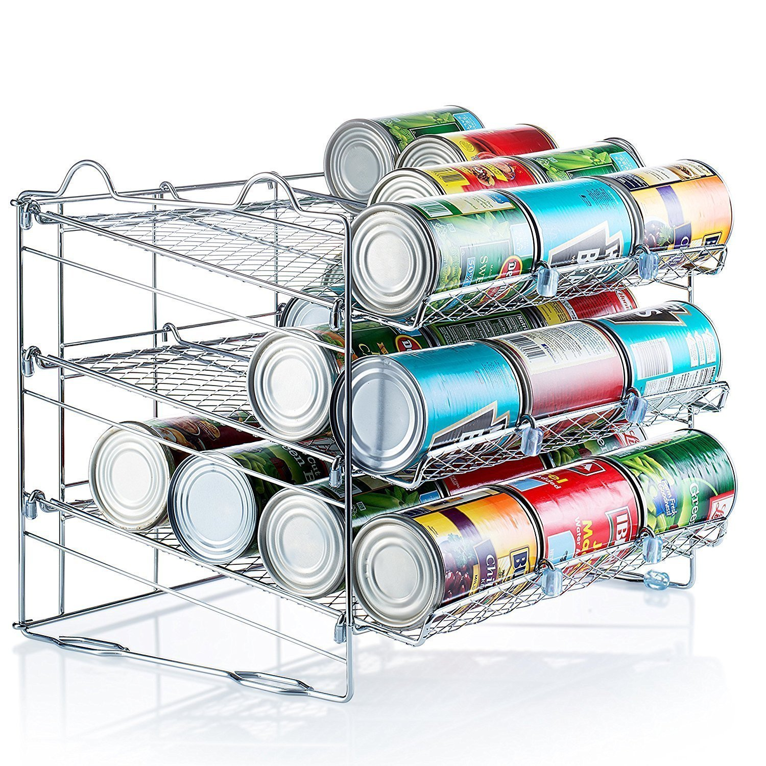 Sagler Chrome Stackable Can Organizer, Can Rack Holds up to 36 Cans