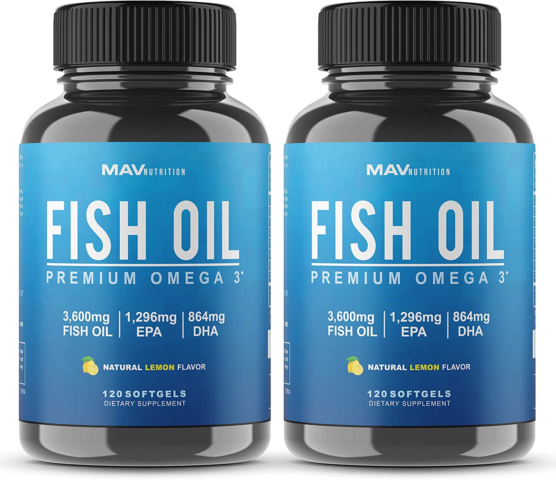 MAV Nutrition Omega 3 Fish Oil Triple Strength, 3,600mg, Burpless, Non-GMO, NSF-Certified, 120 Count (2 Pack)