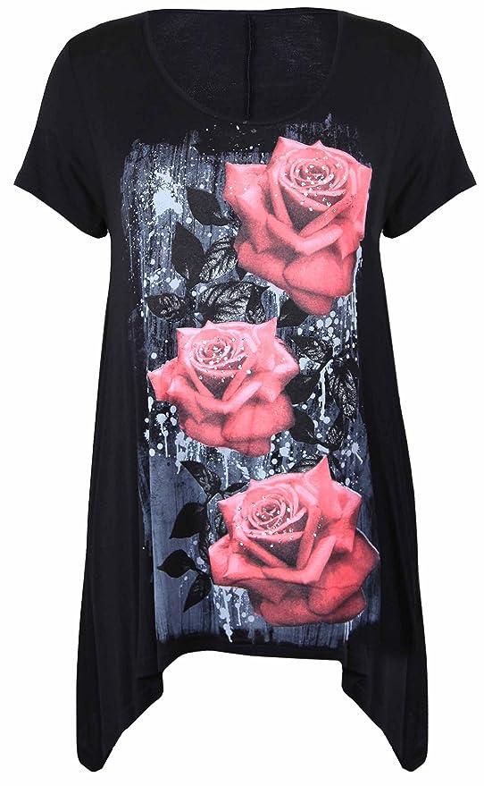 Womens Plus Size Heart Stud Hanky Hem Ladies Short Sleeve Long Top 14-28