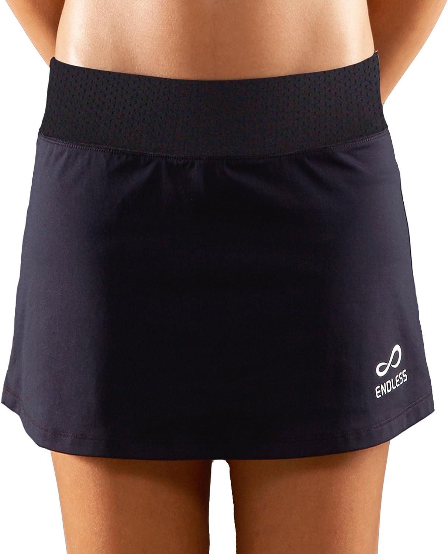 ENDLESS Minimal Falda de Tenis, Mujer, Negro, L