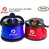 Ponixa Knife Sharpener, Tungsten Steel Sharpener, Suction Pad Design, Fully Polished, Excellent Quality, Red and Blue (2 Pack)
