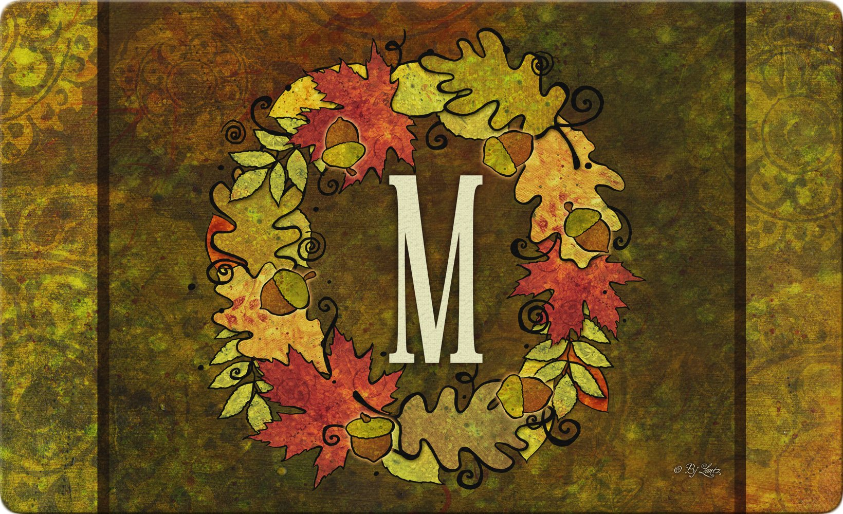 silk flower arrangements toland home garden fall wreath monogram m 18 x 30 inch decorative autumn floor mat colorful leaves doormat