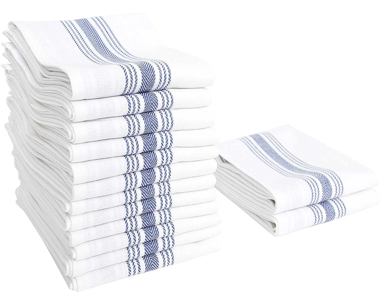 "Value Basics Herringbone Stripe Kitchen Towel Set, 15"" x 25"", 14-Pack, Blue & White"