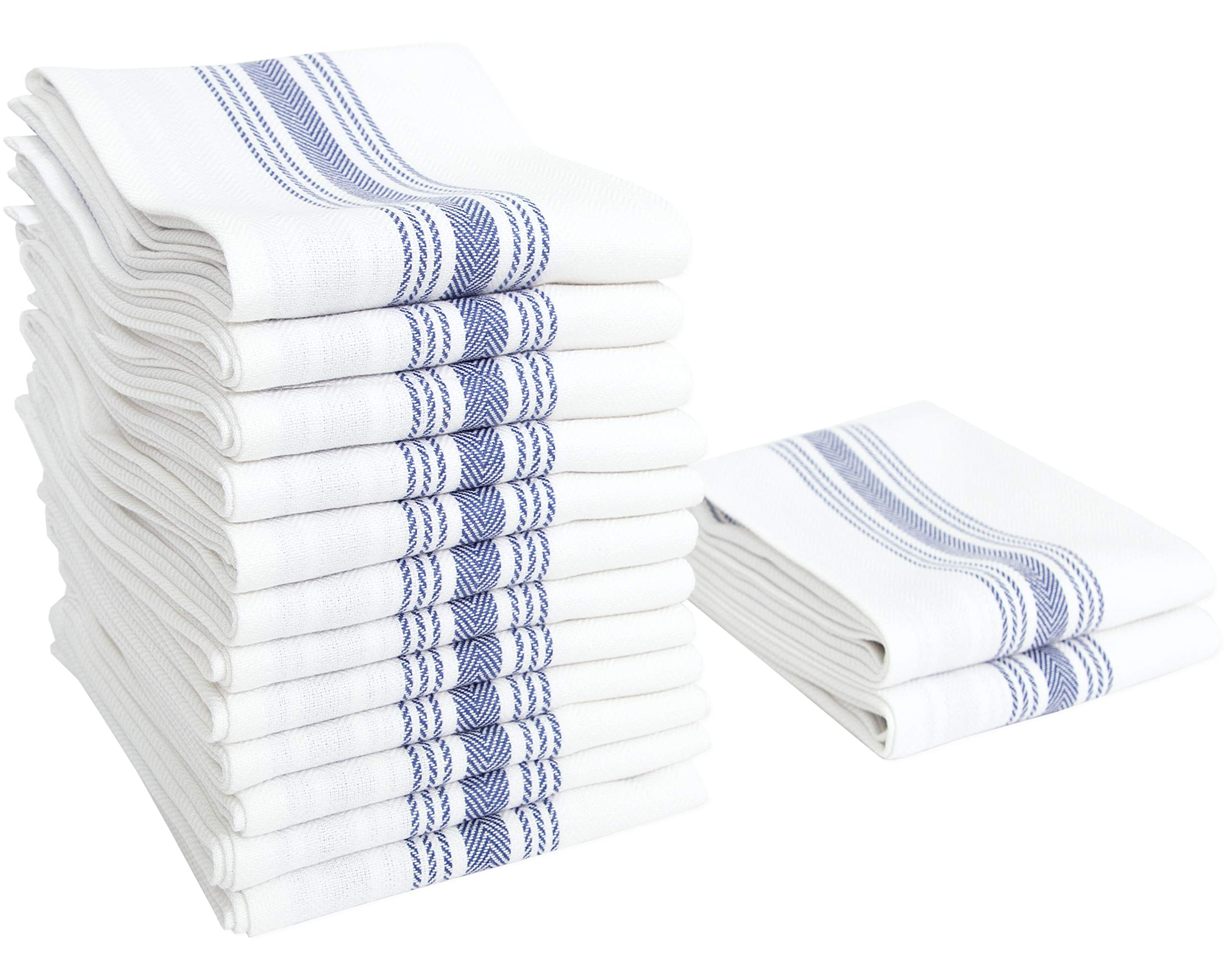 Value Basics Herringbone Stripe Kitchen Towel Set, 15'' x 25'', 14-Pack, Blue & White